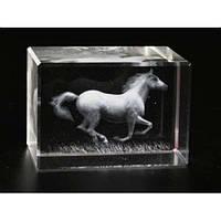 Фигурка Конь голограмма в хрустале