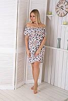 Модное короткое платьице с открытыми плечами с бабочками