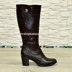 Кожаные женские сапоги на невысоком каблуке, коричневый цвет. Батал!