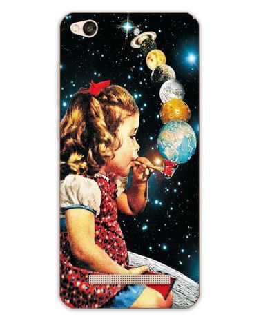 Бампер силіконовий чохол накладка з картинкою для Xiaomi Redmi 5A Дівчинка з планетами