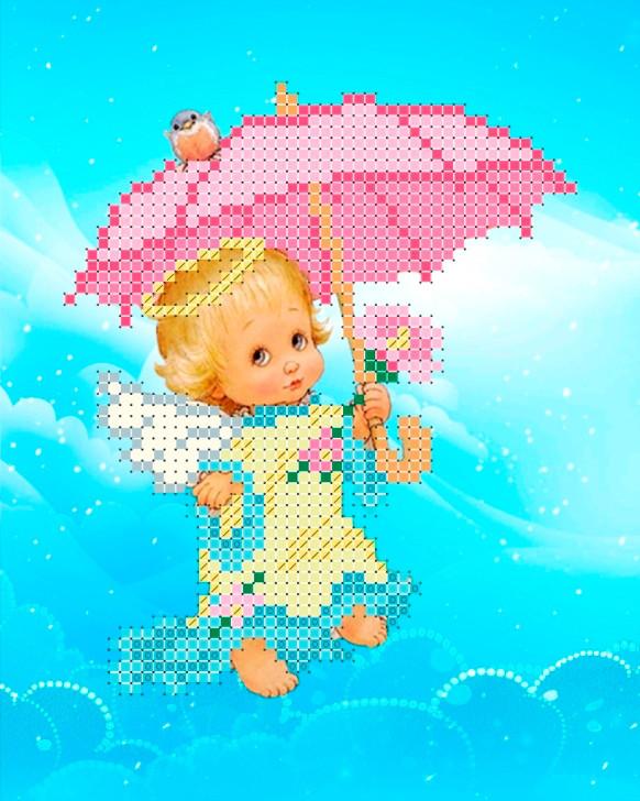 Схема для вишивки та вишивання бісером Бисерок «Ангел з парасолькою» (A6) 10x15 (ЧВ-1400)