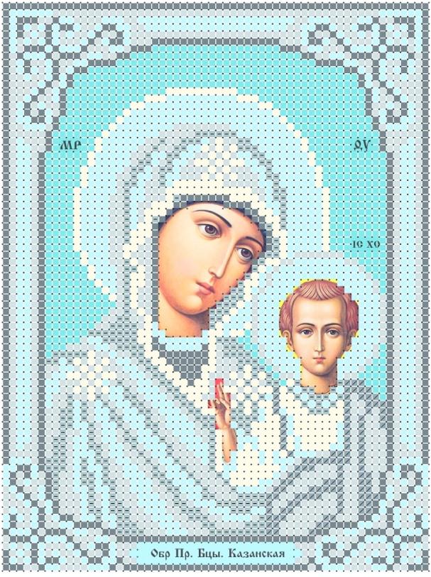 Схема для вишивки та вишивання бісером Бисерок  ікона «МБ Казанська» срібло (A6) 10x15 (ЧВ-1509)