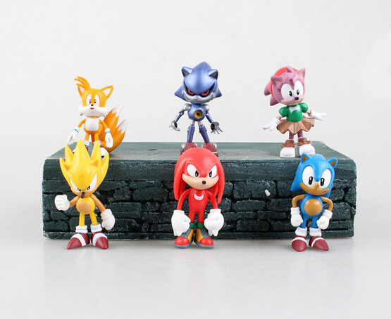 Набор Игрушки-фигурки Соник Ежик Super Sonic и его друзья, 6 шт