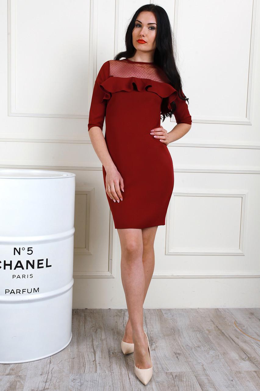 65fb7478323e322 Бордовое платье с воланами и сеткой - Оптово-розничный магазин одежды