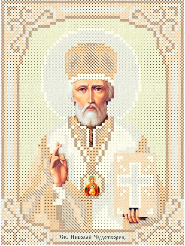 Схема для вишивки та вишивання бісером Бисерок «Св Миколай» золото (A6) 10x15 (ЧВ-1508)