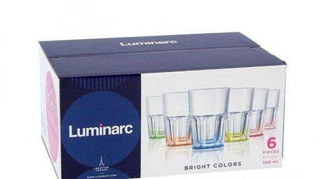 Набор стаканов с разноцветным дном Luminarc New america Брайт колорс 350 мл 6 шт( J8932), фото 2