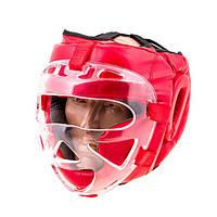 Шлем для единоборств Everlast с пластиковой маской р.M (красный)