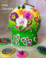 Свеча ручной работы с орхидеей, ярких цветов, подарочная, 13 см высотой, фото 1