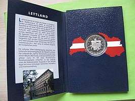 Латвия, набор евро монет 2014 г , UNC + серебряный жетон