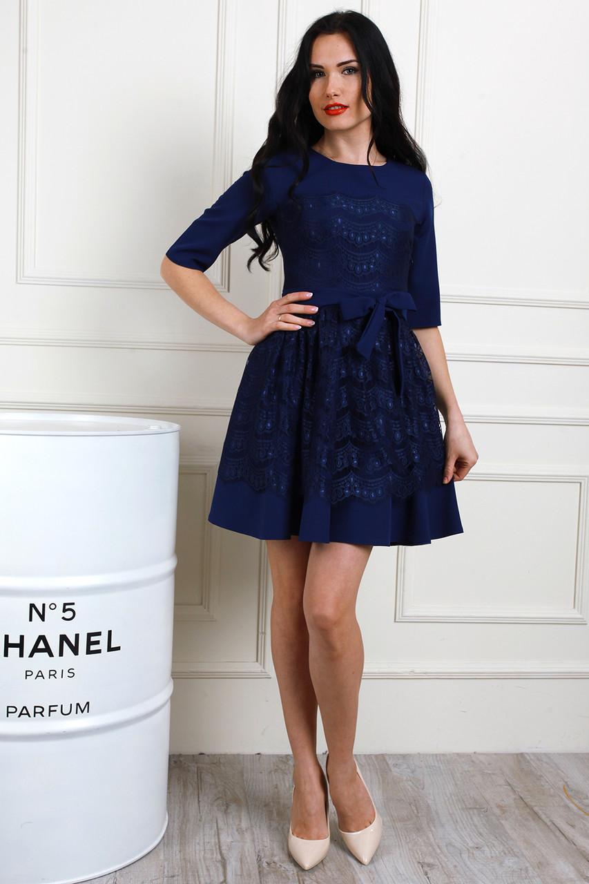 6dc3824ac1f Темно-синее платье с кружевом и пышной юбкой - Оптово-розничный магазин  одежды