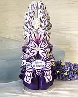 Різьблена свічка ручної роботи, подарункова, 25 см заввишки