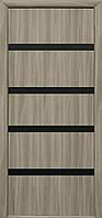 Дверное полотно Нота с черным стеклом (Сандал / Экошпон)