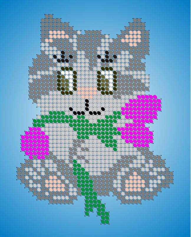 Схема для вишивки та вишивання бісером Бисерок «Кошеня з тюльпанами» (A6) 10x15 (ЧВ-1127)