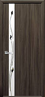 Дверное полотно Злата со стеклом сатин и рисунком (Кедр / Экошпон)
