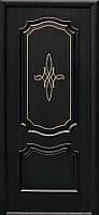 Дверное полотно Рока глухое с гравировкой Gold (Венге new / ПВХ DeLuxe)