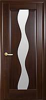 Дверное полотно Волна со стеклом сатин (Каштан / ПВХ DeLuxe)