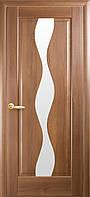 Дверное полотно Волна со стеклом сатин (Золотая ольха / ПВХ DeLuxe)