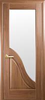 Дверное полотно Амата со стеклом сатин (Золотая ольха / ПВХ DeLuxe)