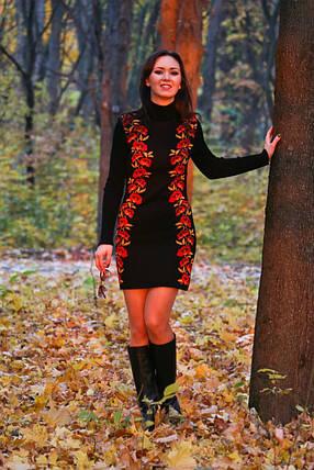 Женское вязаное платье Маки черный-теракот-желтый, фото 2
