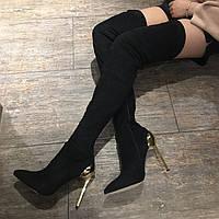 Стильные замшевые сапоги ботфорты на металлическом сплошном каблуке в стиле Casadei 37