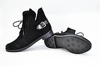 Замшевые ботинки на шнурках черного цвета