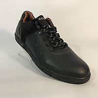 """Мужские кожаные кроссовки """"Ecco"""" /  черные"""