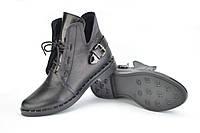 Ботинки кожаные черные на шнурках