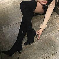 Стильные замшевые сапоги ботфорты на высоком каблуке в стиле Casadei 36