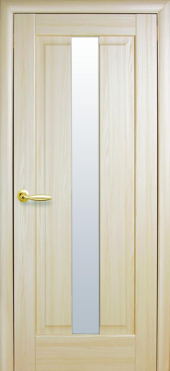 Дверное полотно Премьера со стеклом сатин (Ясень / ПВХ DeLuxe)