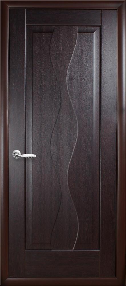 Дверное полотно Волна глухое (Венге new / ПВХ DeLuxe)
