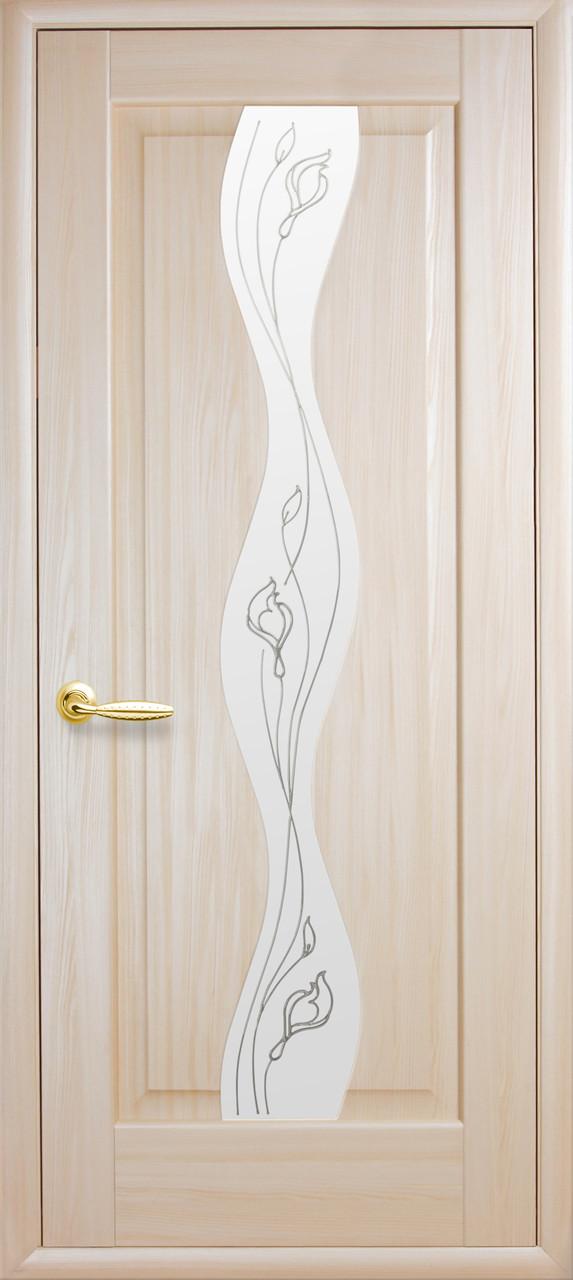 Дверное полотно Волна со стеклом сатин и рисунком (Ясень / ПВХ DeLuxe)
