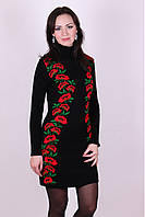 Женское платье мини Маки черный-алый-зеленый