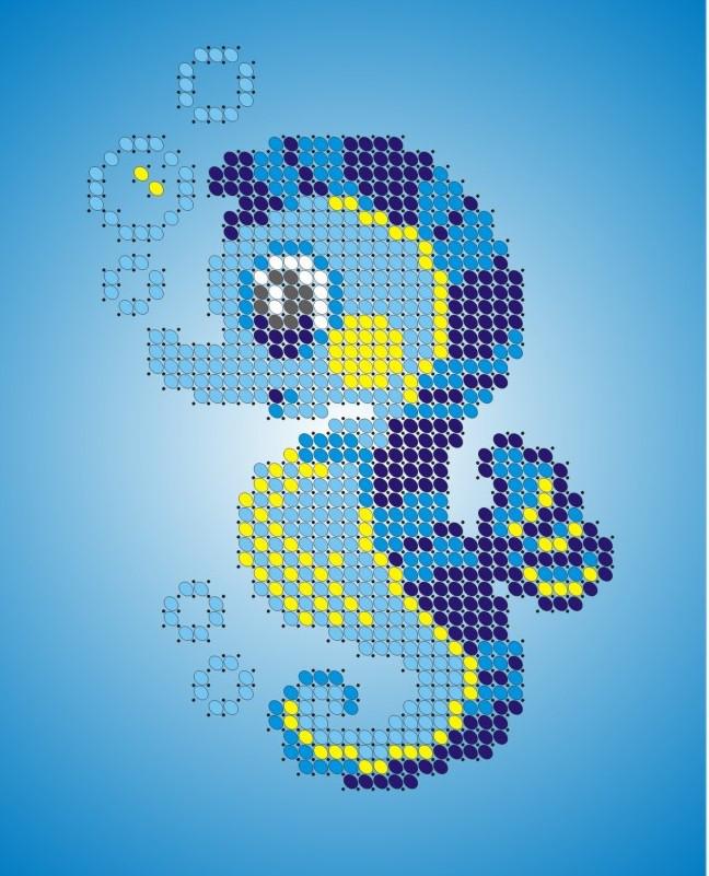 Схема для вишивки та вишивання бісером Бисерок «Морський коник» (A6) 10x15 (ЧВ-1124)