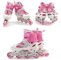 Роликовые коньки для взрослых розовые