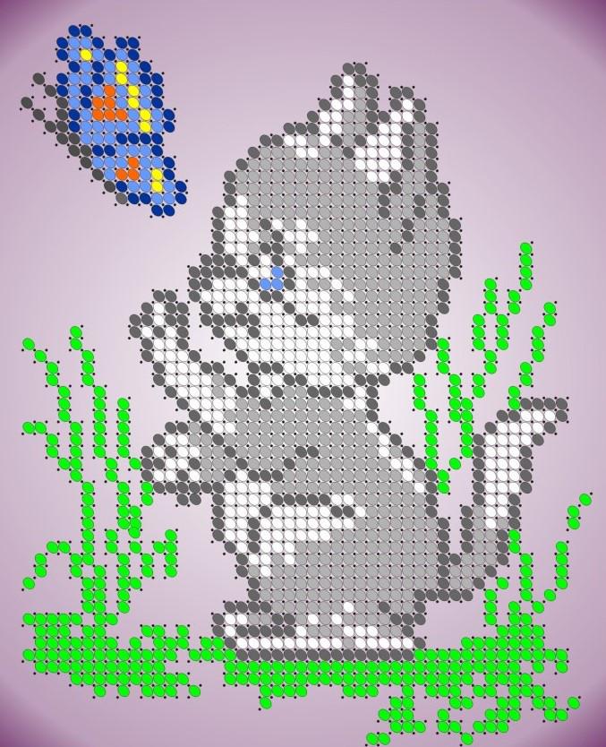 Схема для вишивки та вишивання бісером Бисерок «Кошеня з метеликом» (A6) 10x15 (ЧВ-1118)