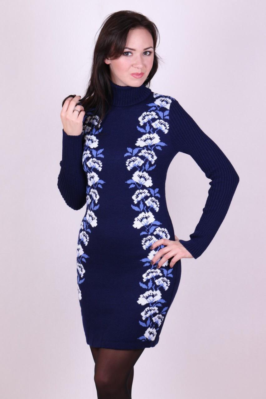Женское платье вязаное Маки синий-белый-голубой  - Вишиванки Merezhka в Хмельницком