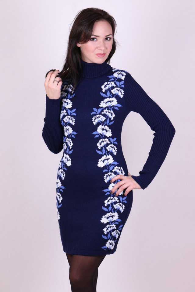 Женское платье вязаное Маки синий-белый-голубой