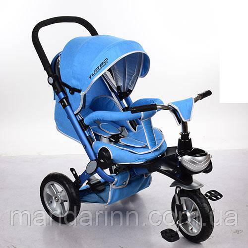 Детский Трехколесный велосипед-коляска с ручкой для родителей M AL3645A-12 Голубой, колеса резиновые