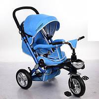 Детский Трехколесный велосипед-коляска с ручкой для родителей M AL3645A-12 Голубой, колеса резиновые, фото 1