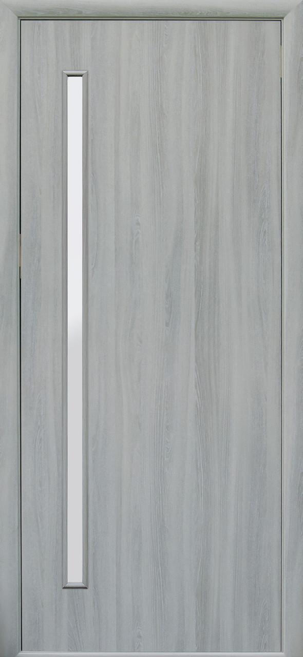 Дверное полотно Глория со стеклом сатин (Ясень патина / Экошпон)