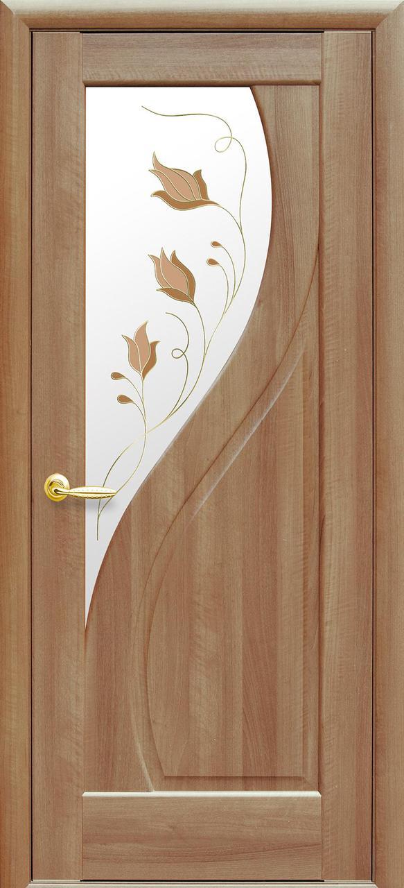 Дверное полотно Прима со стеклом сатин и рисунком (Золотая ольха / ПВХ DeLuxe)