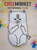 Объемный 3D силиконовый чехол для Samsung Galaxy J5 J530 (J5 2017) Белый кот