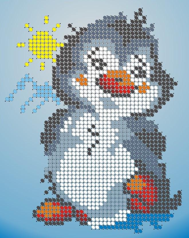 Схема для вишивки та вишивання бісером Бисерок «Пингвинчик» (A6) 10x15 (ЧВ-1116)