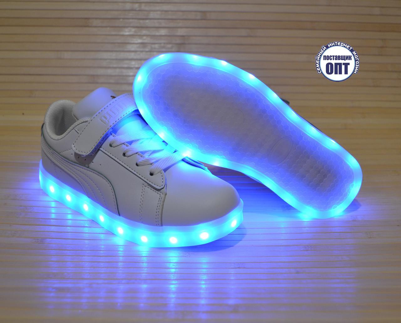 Кроссовки со светящей LED подошвой зарядка USB кабелем 33, 36 размеры