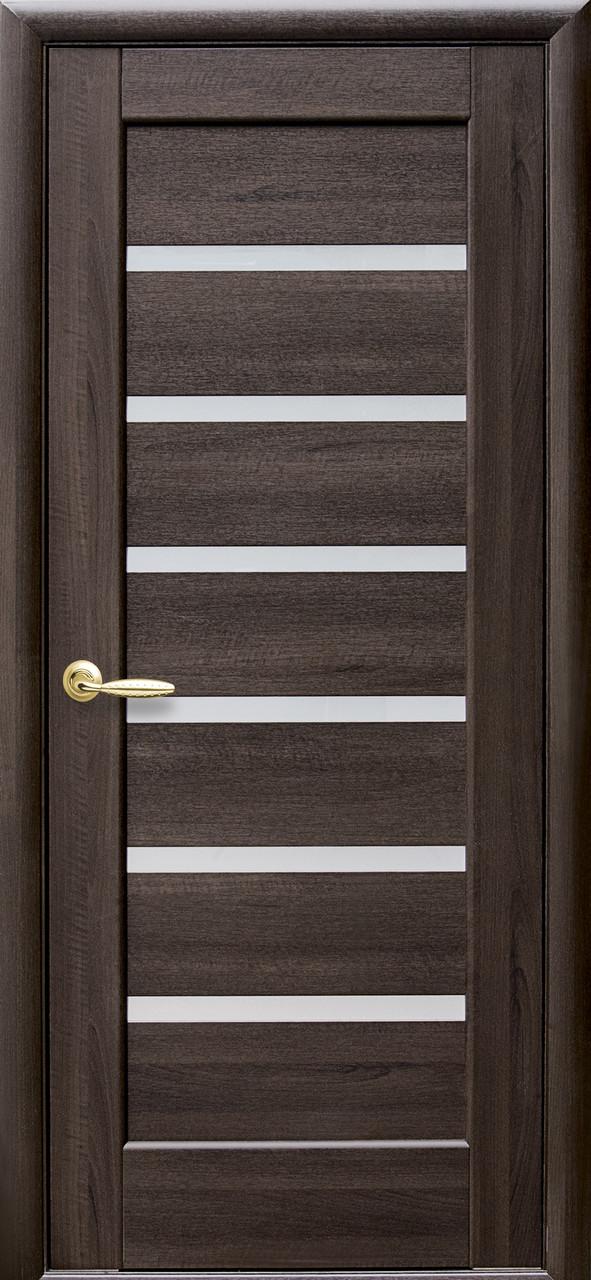 Дверное полотно Линнея со стеклом сатин (Каштан / ПВХ DeLuxe)