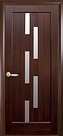 Дверное полотно Лаура со стеклом сатин (Каштан / ПВХ DeLuxe)