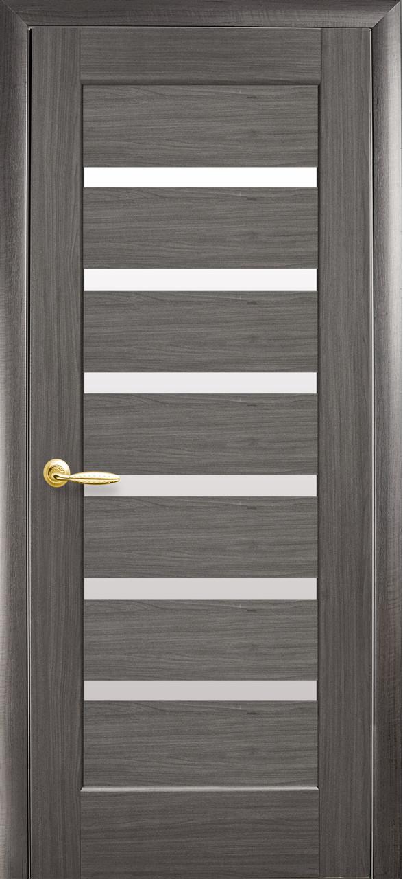 Дверное полотно Линнея со стеклом сатин (Grey / ПВХ DeLuxe)