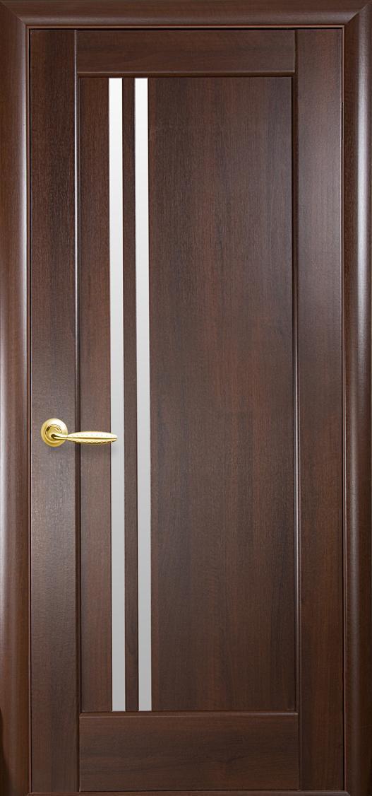Дверное полотно Делла со стеклом сатин (Каштан / ПВХ DeLuxe)