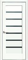 Дверное полотно Линнея с черным стеклом (Белый матовый / ПВХ DeLuxe)