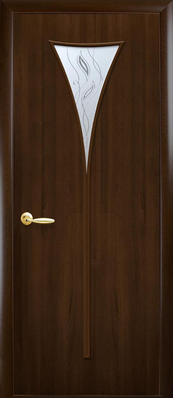 Дверное полотно Бора со стеклом сатин и рисунком (Орех premium / ПВХ)